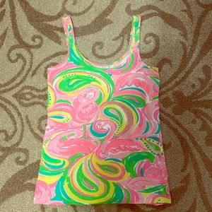 Lilly Pulitzer Pink & Green Flamingo Tank Top